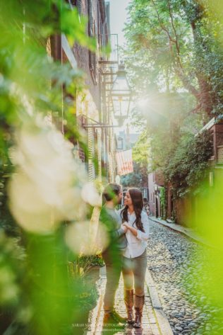 Boston City Acorn Street Engagement Session in Massachusetts Sarah Murray Photography